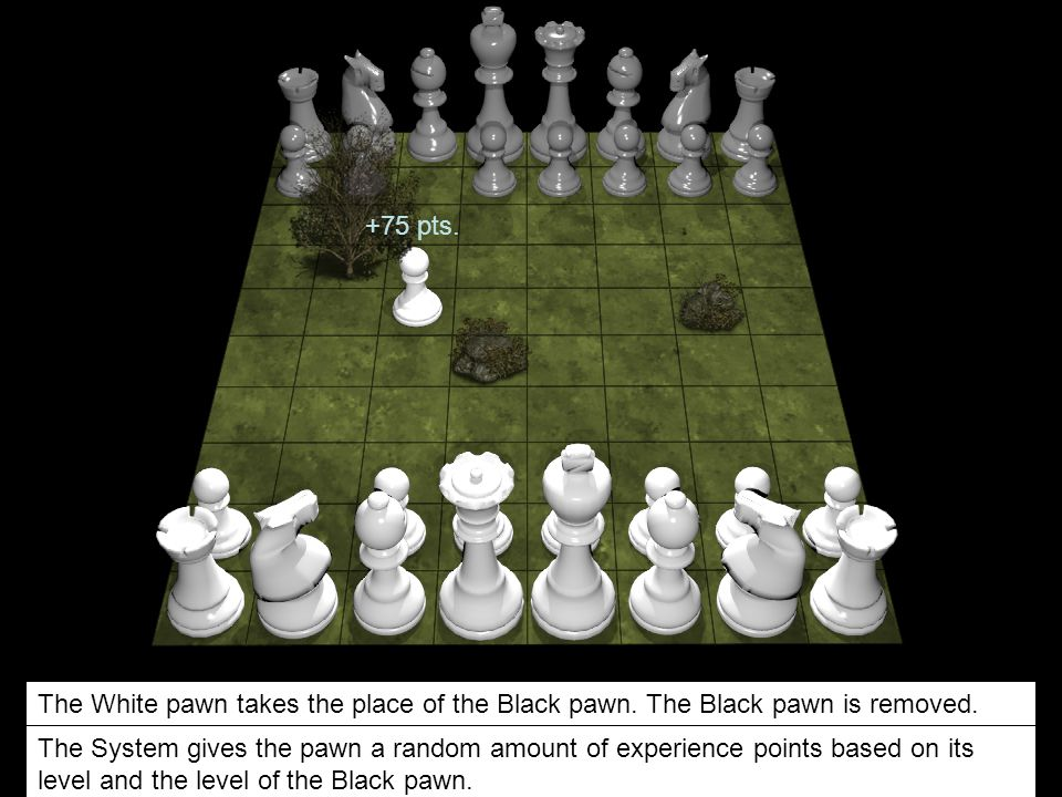 +75 pts. The White pawn takes the place of the Black pawn. The Black pawn is removed.
