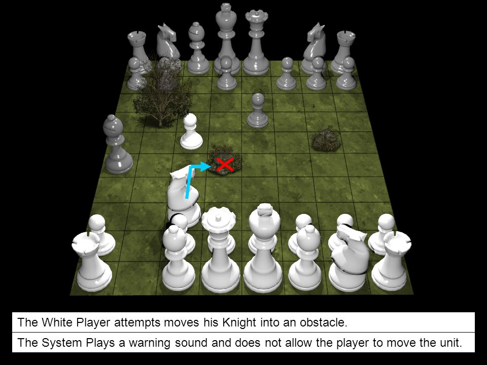 The White Player attempts moves his Knight into an obstacle.