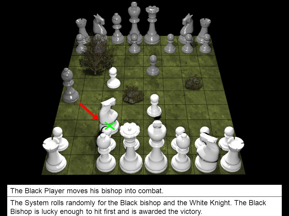 The Black Player moves his bishop into combat.