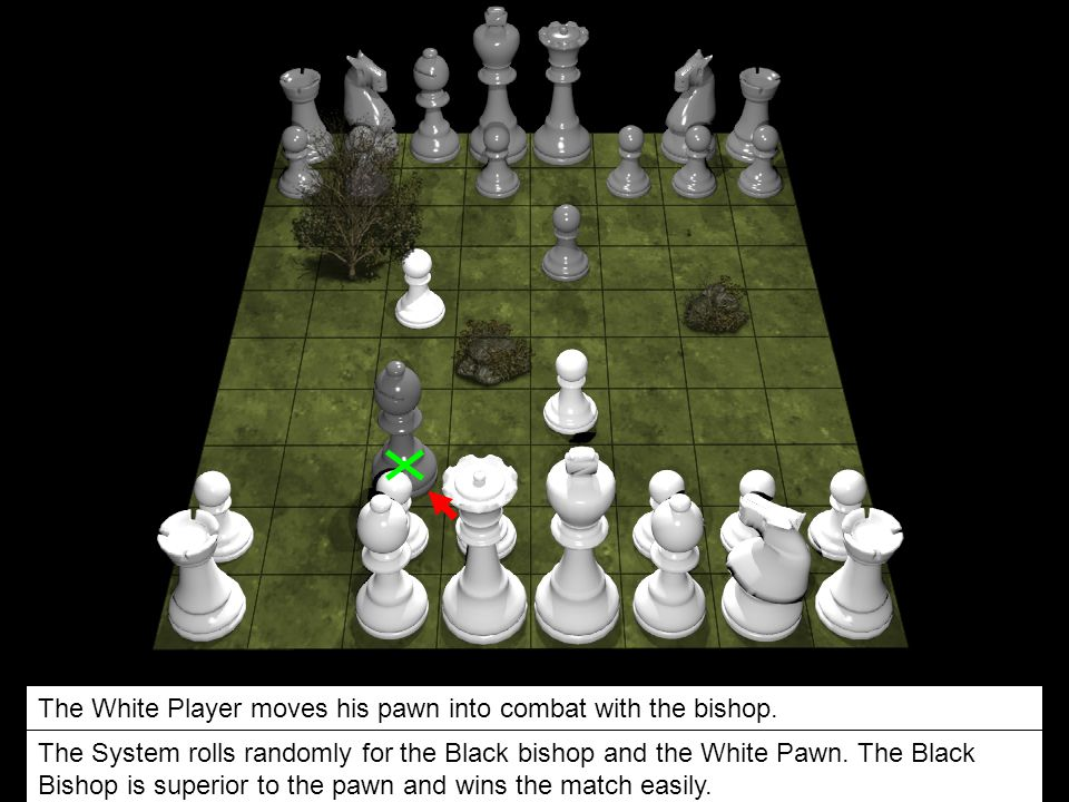 The White Player moves his pawn into combat with the bishop.