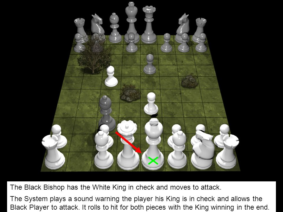 The Black Bishop has the White King in check and moves to attack.