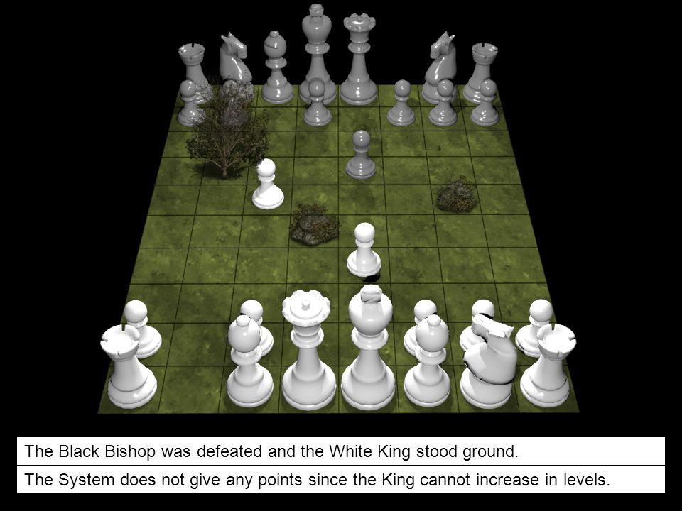 The Black Bishop was defeated and the White King stood ground.