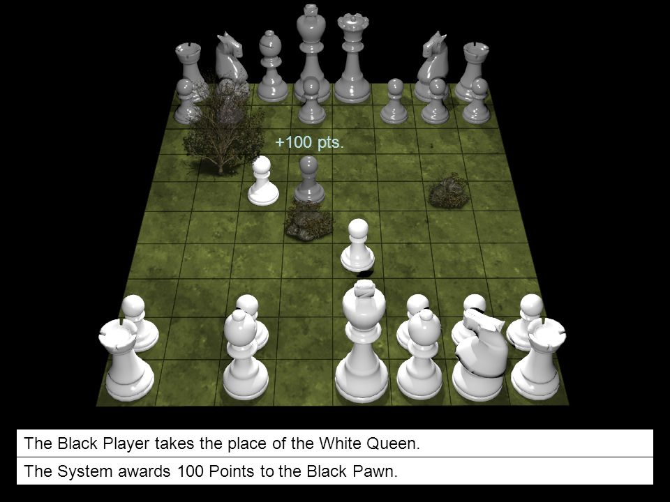 +100 pts. The Black Player takes the place of the White Queen.