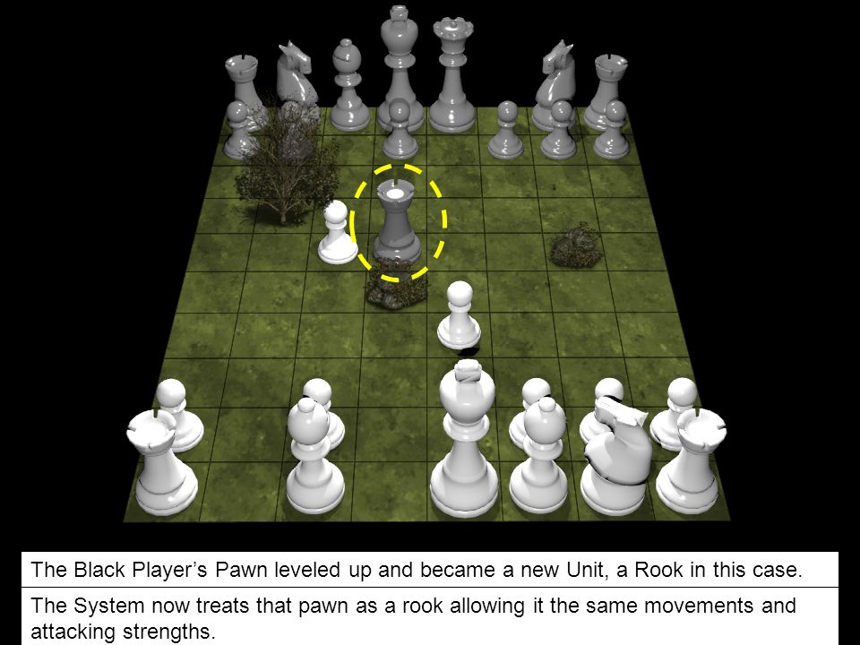 +100 pts. The Black Player's Pawn leveled up and became a new Unit, a Rook in this case.