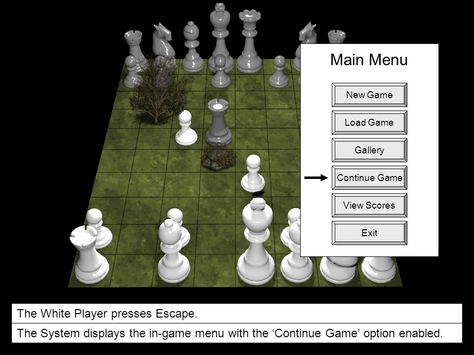 Main Menu +100 pts. The White Player presses Escape.