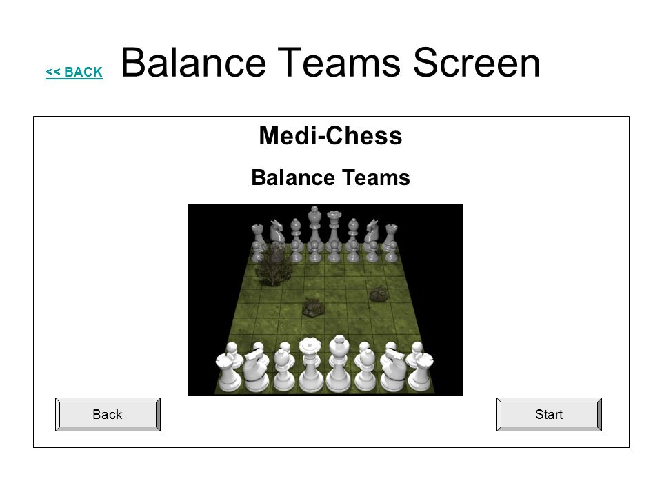 Balance Teams Screen << BACK Medi-Chess Balance Teams Back Start