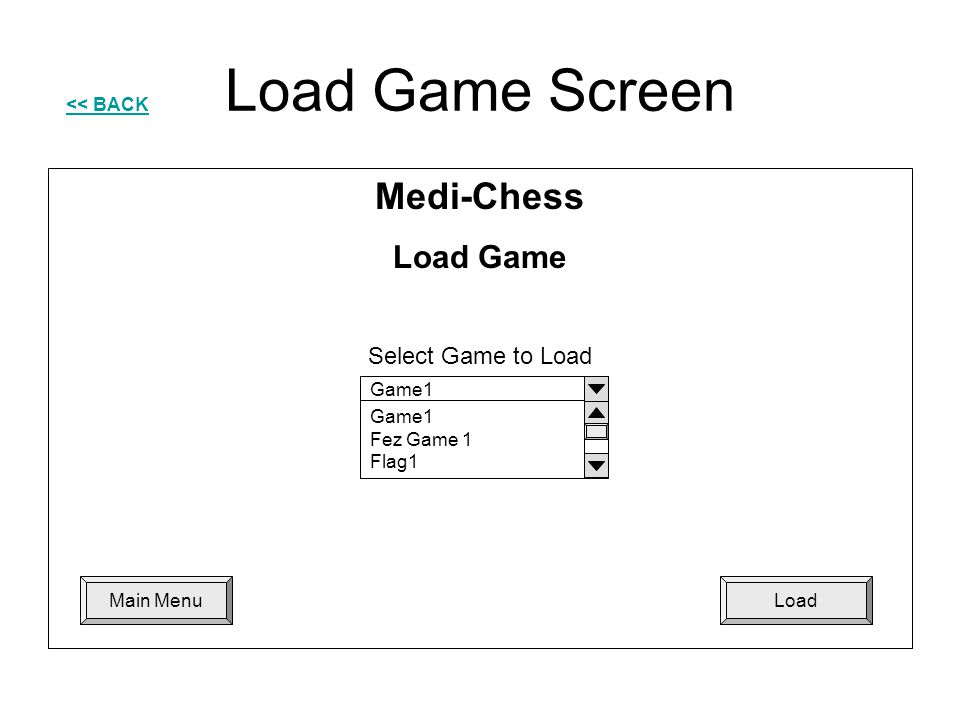 Load Game Screen Medi-Chess Load Game Select Game to Load
