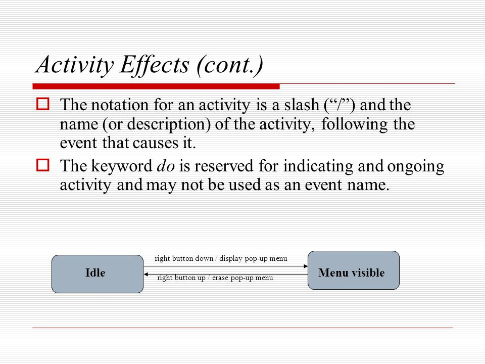 Activity Effects (cont.)