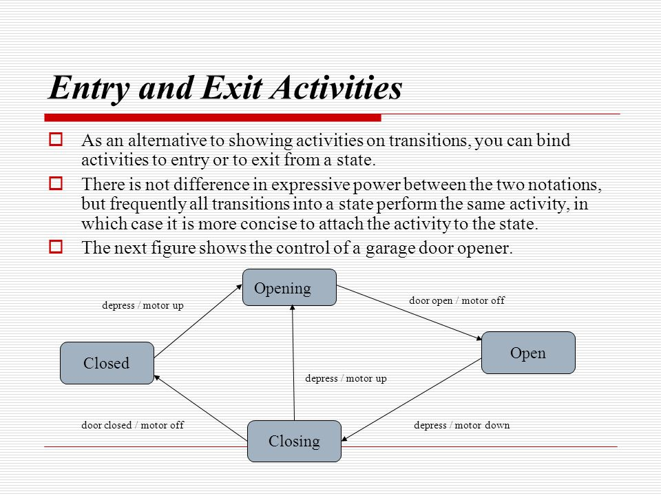Entry and Exit Activities