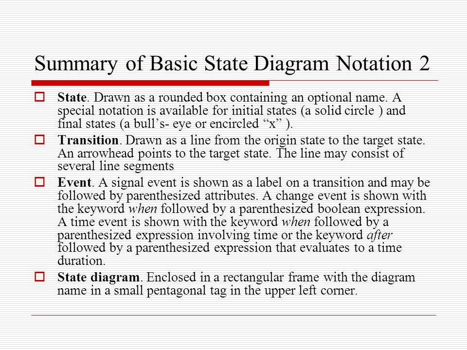 Summary of Basic State Diagram Notation 2