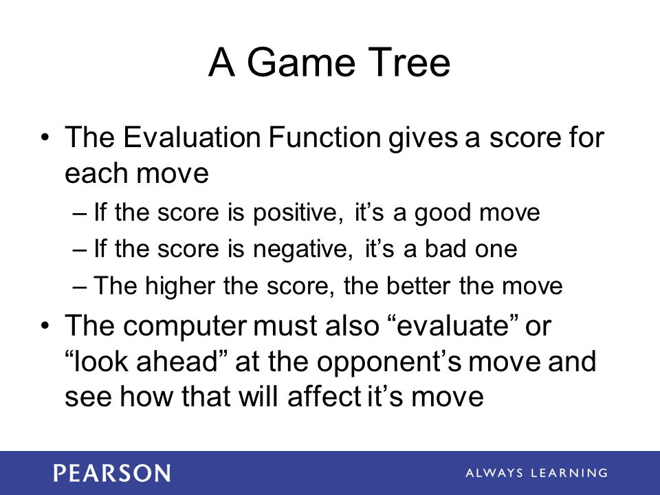 A Game Tree The Evaluation Function gives a score for each move