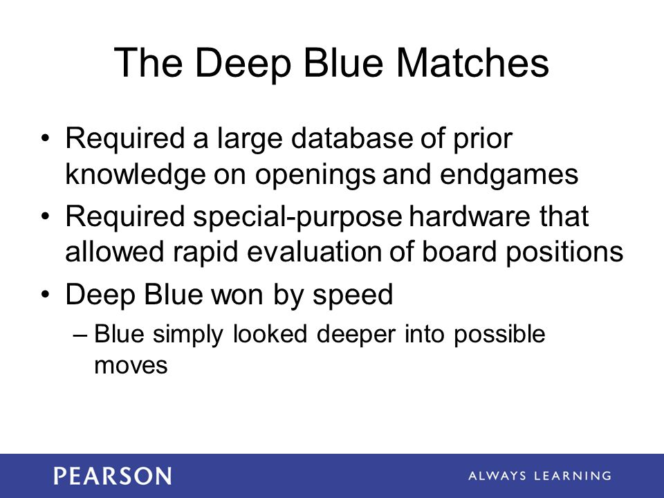 The Deep Blue Matches Required a large database of prior knowledge on openings and endgames.