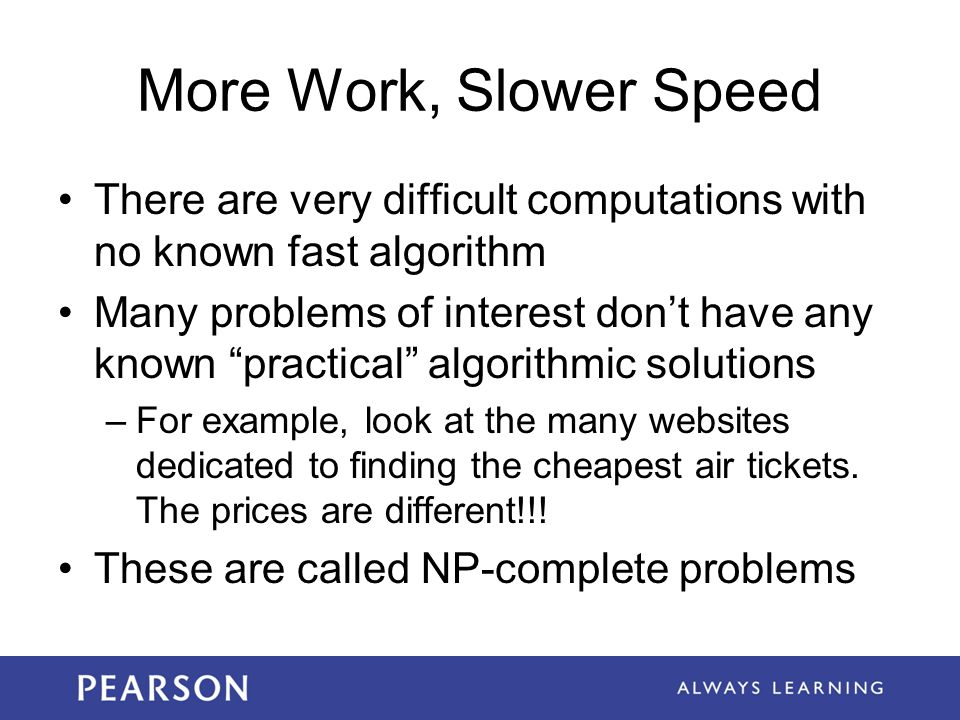 More Work, Slower Speed There are very difficult computations with no known fast algorithm.