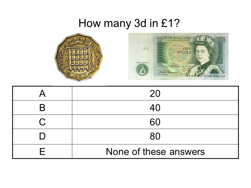 How many 3d in £1 A 20 B 40 C 60 D 80 E None of these answers