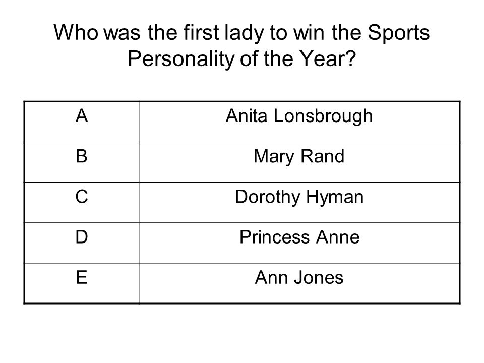 Who was the first lady to win the Sports Personality of the Year