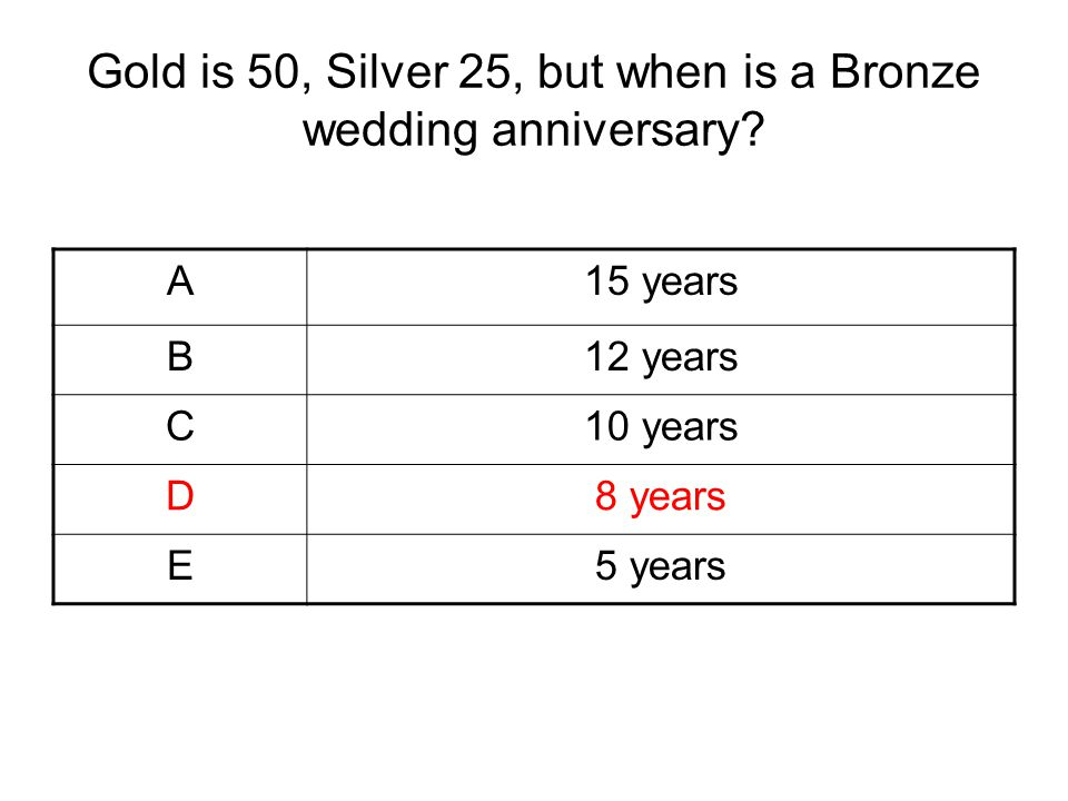 Gold is 50, Silver 25, but when is a Bronze wedding anniversary