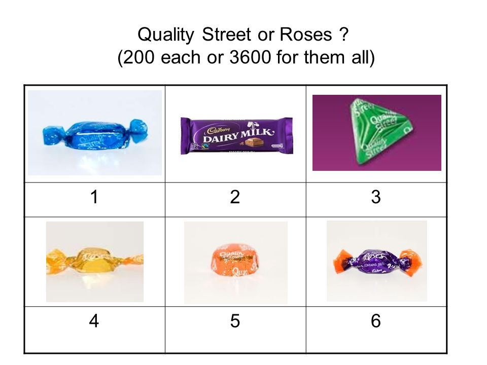 Quality Street or Roses (200 each or 3600 for them all)
