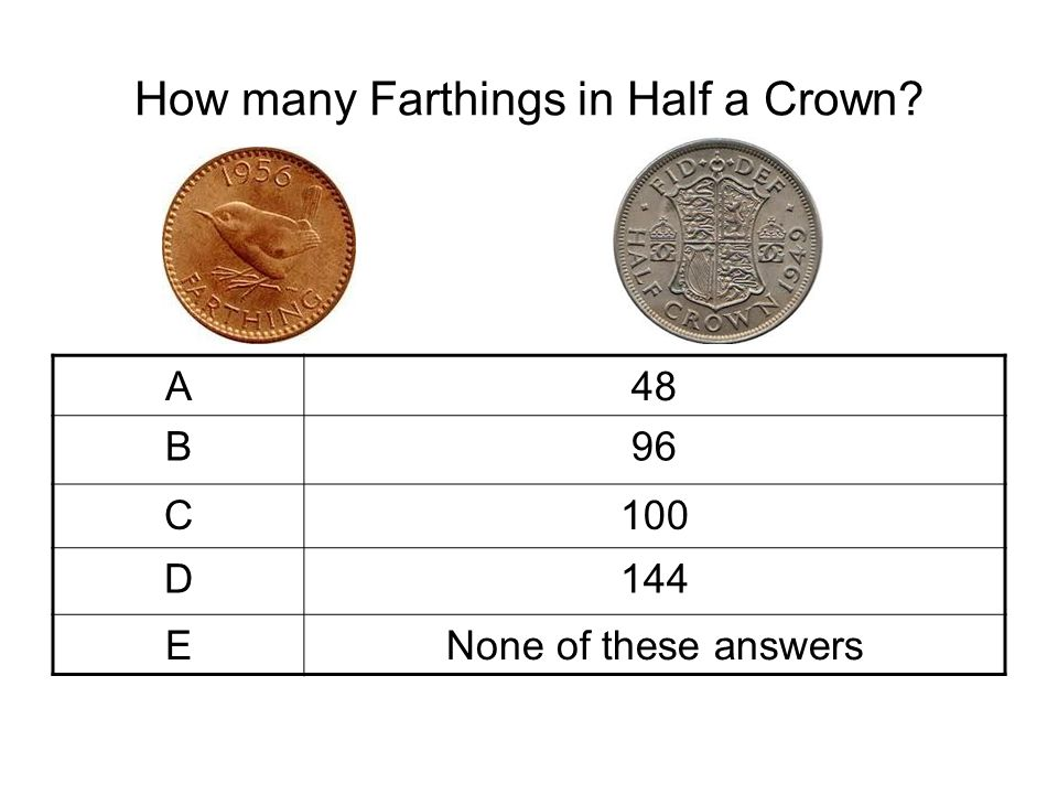 How many Farthings in Half a Crown