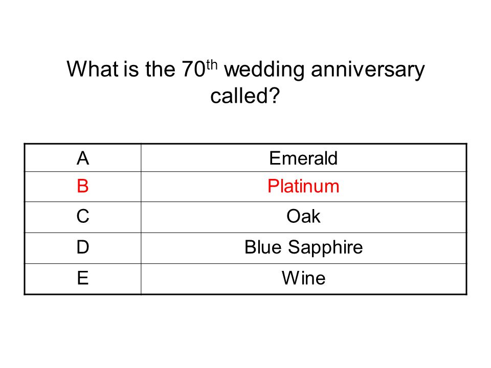 What is the 70th wedding anniversary called