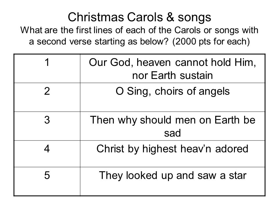 Christmas Carols & songs What are the first lines of each of the Carols or songs with a second verse starting as below (2000 pts for each)