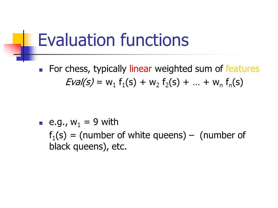 Eval(s) = w1 f1(s) + w2 f2(s) + … + wn fn(s)
