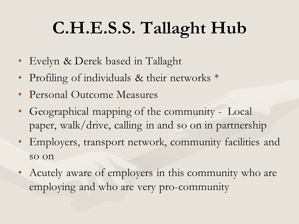C.H.E.S.S. Tallaght Hub Evelyn & Derek based in Tallaght