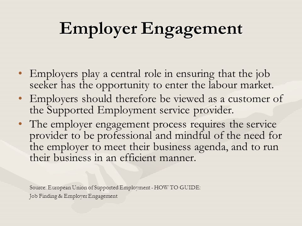 Employer Engagement Employers play a central role in ensuring that the job seeker has the opportunity to enter the labour market.