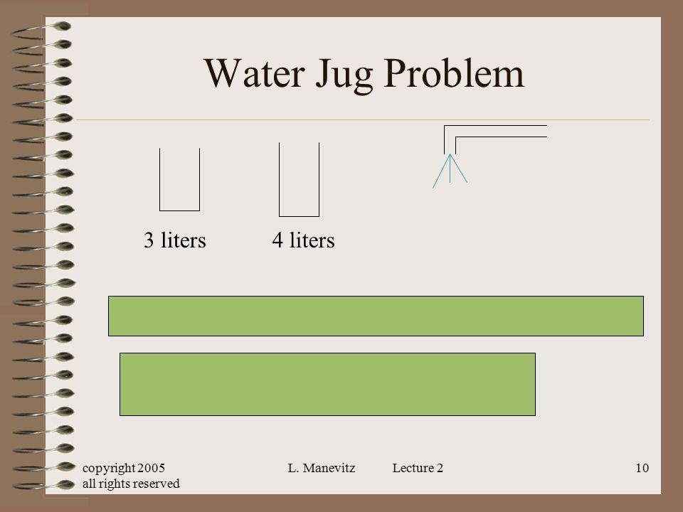 Water Jug Problem <x, y> x, y real numbers x, y between 0 and 4