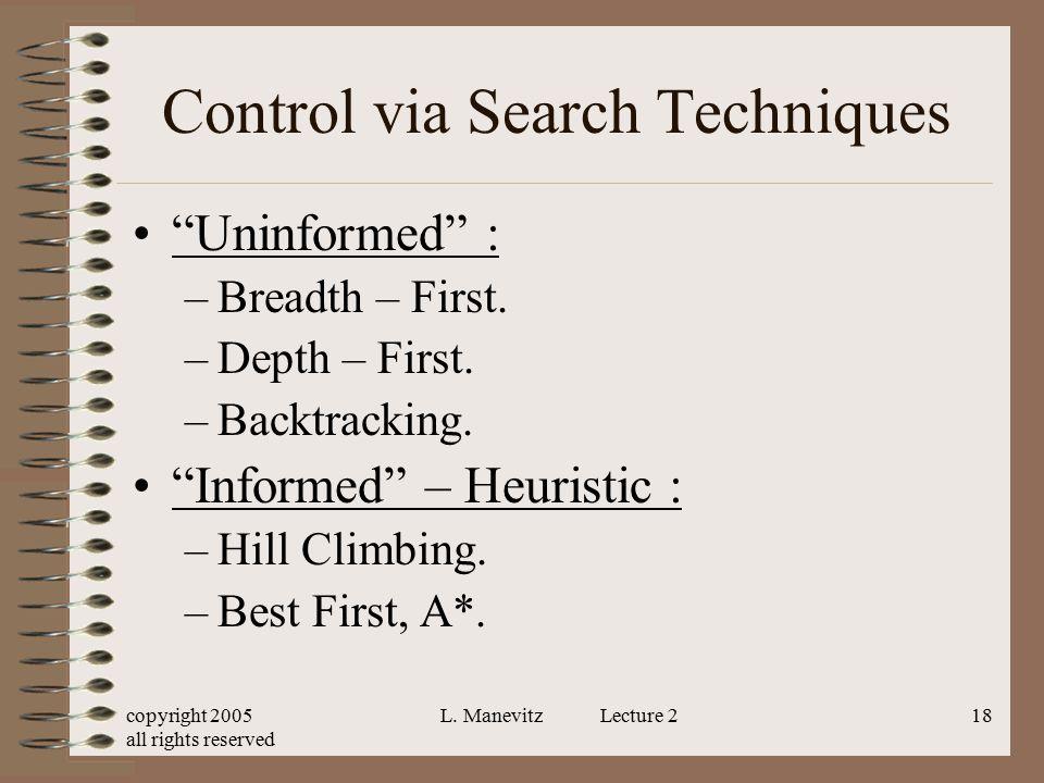 Control via Search Techniques