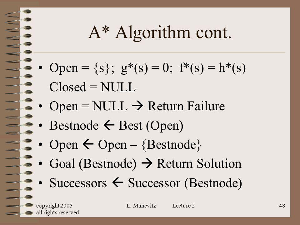 A* Algorithm cont. Open = {s}; g*(s) = 0; f*(s) = h*(s) Closed = NULL