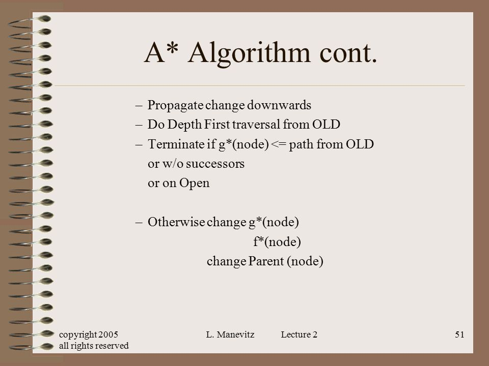 A* Algorithm cont. Propagate change downwards