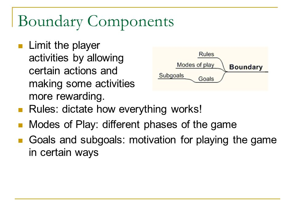 Boundary Components Limit the player activities by allowing certain actions and making some activities more rewarding.