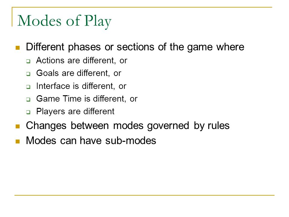 Modes of Play Different phases or sections of the game where