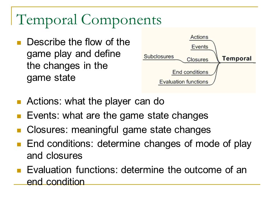 Temporal Components Describe the flow of the game play and define the changes in the game state. Actions: what the player can do.