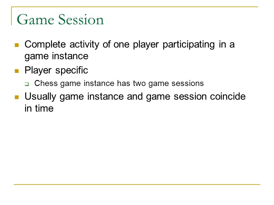 Game Session Complete activity of one player participating in a game instance. Player specific. Chess game instance has two game sessions.