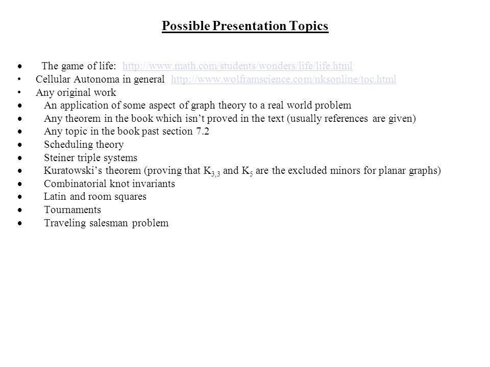 Possible Presentation Topics