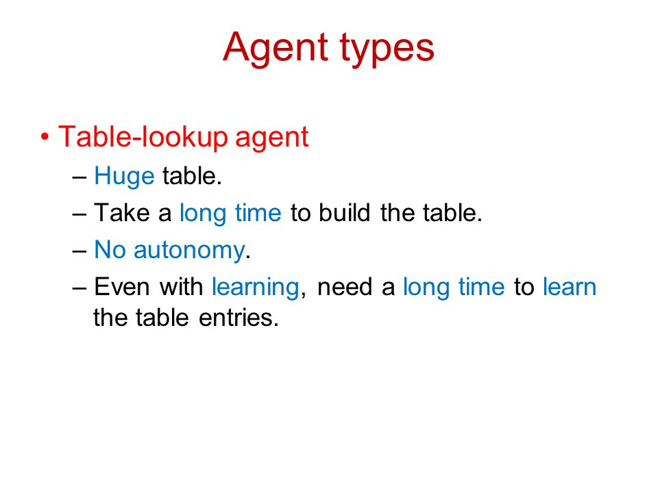 Agent types • Table-lookup agent – Huge table.