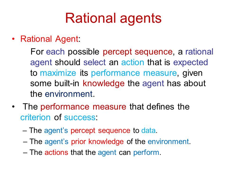 Rational agents Rational Agent:
