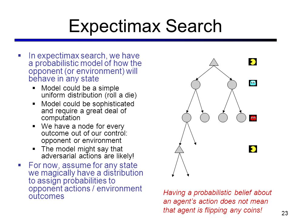 Expectimax Search In expectimax search, we have a probabilistic model of how the opponent (or environment) will behave in any state.