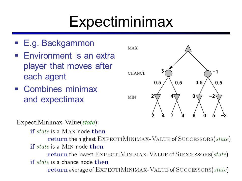 Expectiminimax E.g. Backgammon