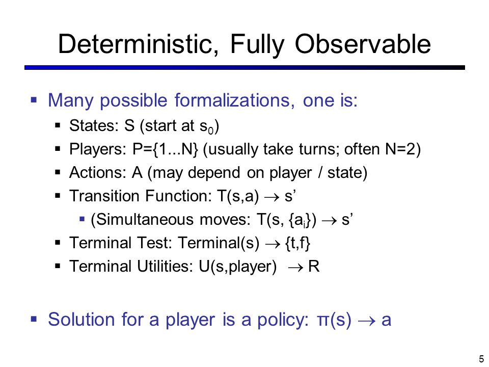 Deterministic, Fully Observable
