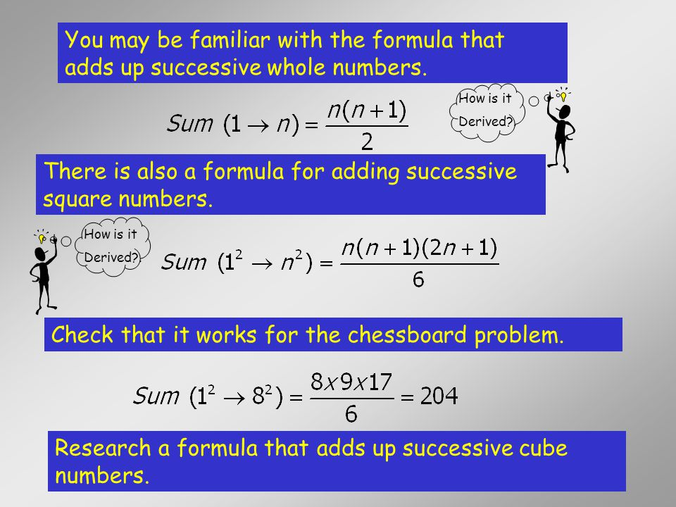 There is also a formula for adding successive square numbers.