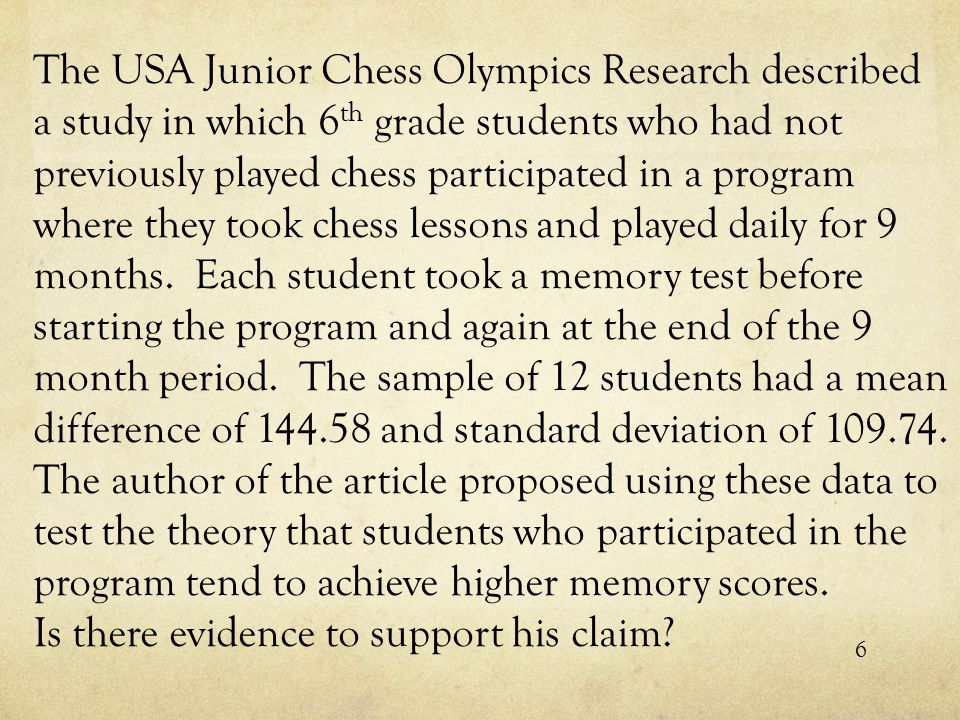 The USA Junior Chess Olympics Research described