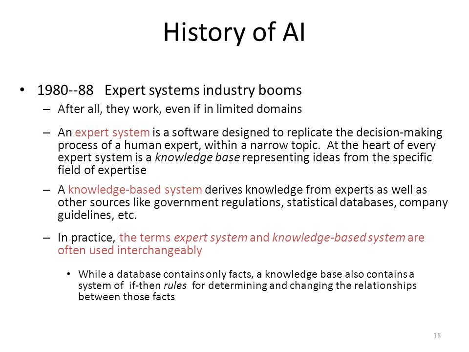 History of AI 1980--88 Expert systems industry booms
