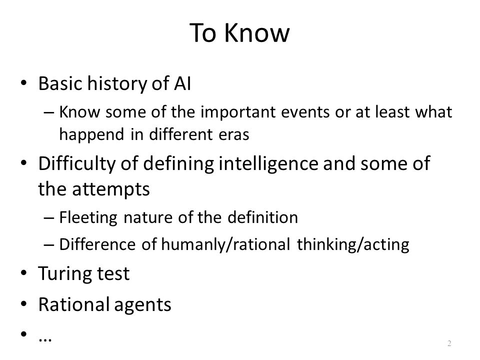 To Know Basic history of AI