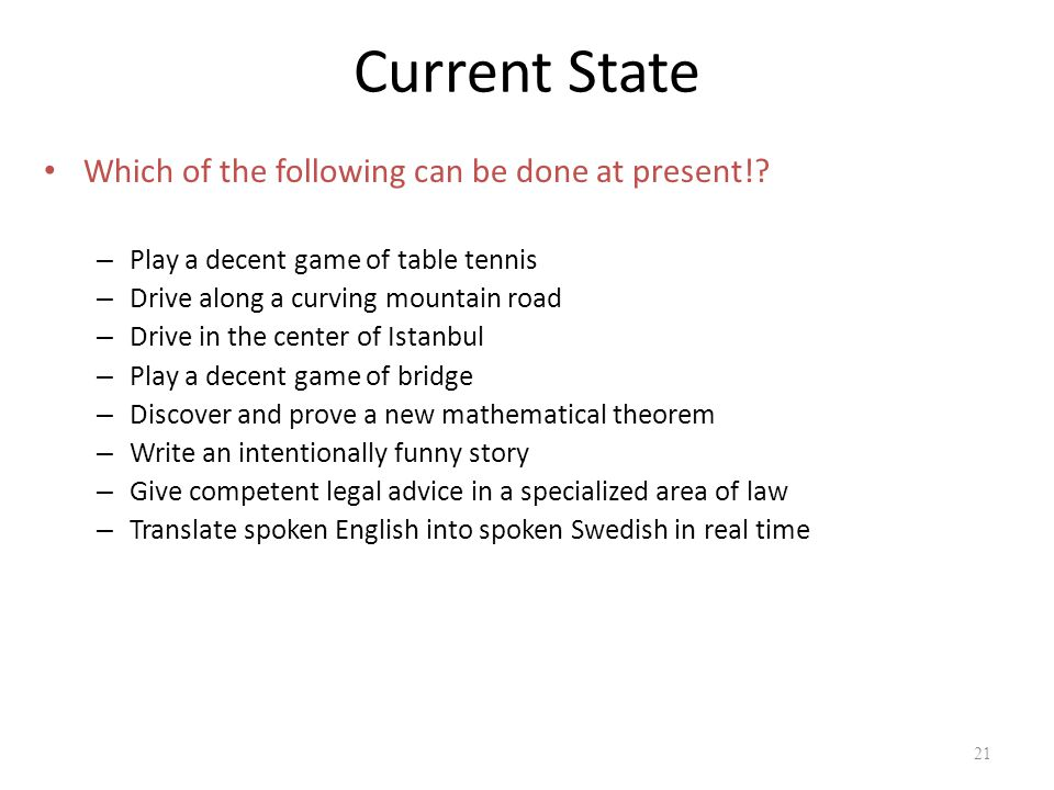 Current State Which of the following can be done at present!