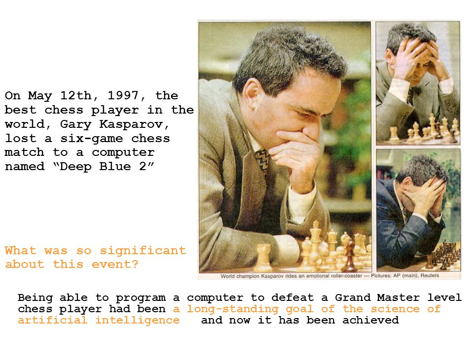 best chess player in the world, Gary Kasparov, lost a six-game chess