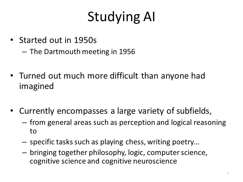 Studying AI Started out in 1950s