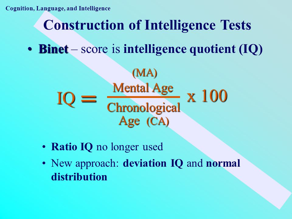 Construction of Intelligence Tests