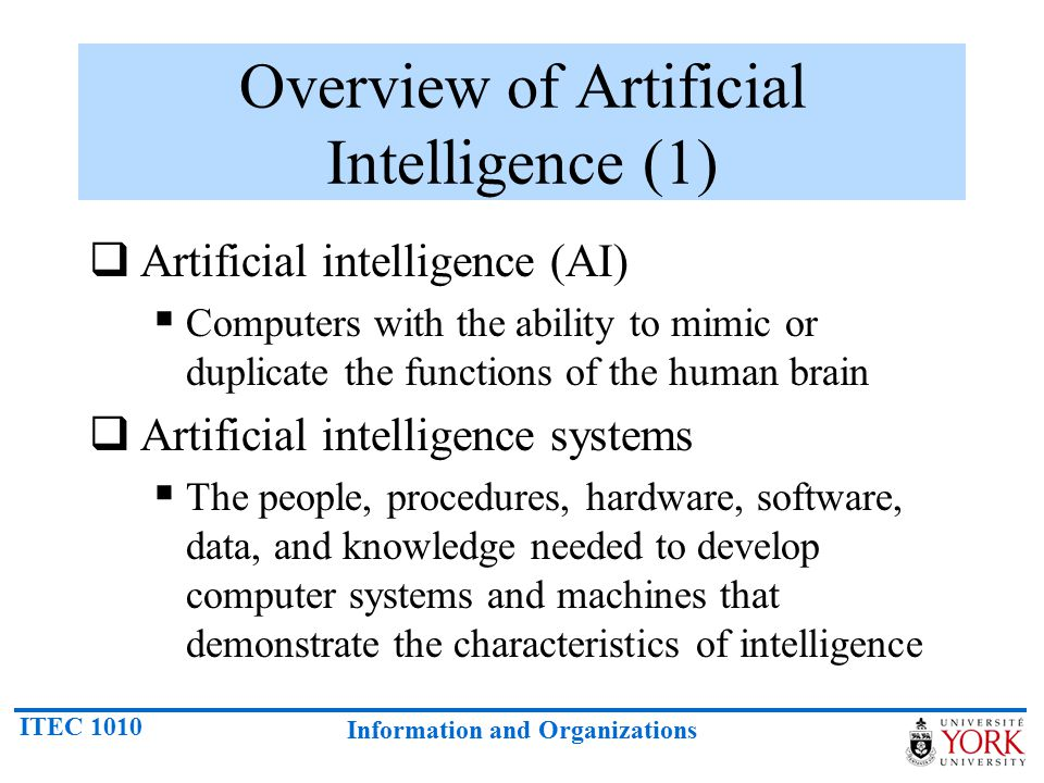Overview of Artificial Intelligence (1)